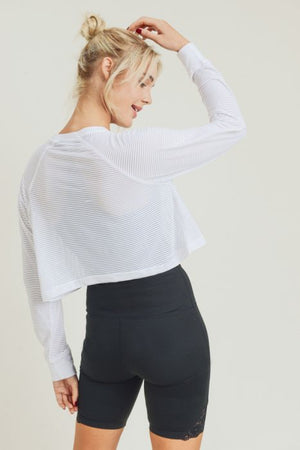 Striped Mesh Cropped Shirt with Long Sleeves