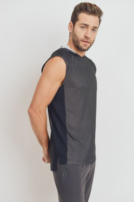 Men Micro Dot Muscle Hoddie Top