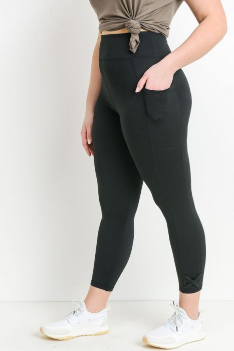 PLUS Size High Waist Full Leggings with Bow