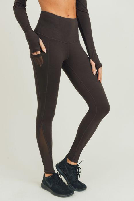 High waist Splice Mesh Pocket Full Leggings COFFEE