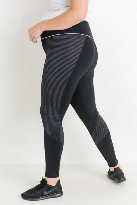 PLUS Highwaist Block Stripe Print Full Leggings