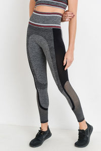 Highwaist Seamless Hybrid Techno Track Leggings with Lattice Mesh