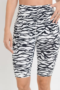 Highwaist Zebra Print Bermuda Active Shorts