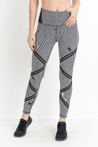 Highwaist Zen Sand Garden Full Leggings with Infinity Mesh Zig Zag Accent