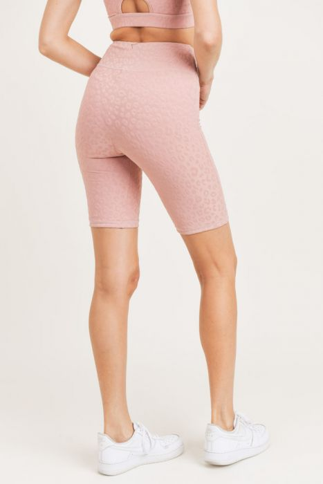 Textured Leopard Jacquard TACTEL® Bermuda Shorts Highwaist (DUSTY PINK)
