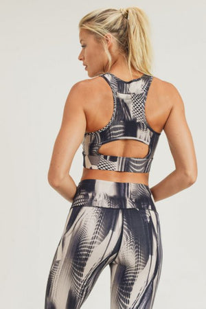 Tread Space Print Racer Cutout Sports Bra