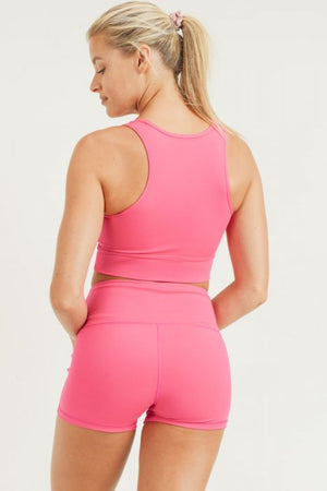 Peekaboo Racerback Sports Bra (HOT PINK)