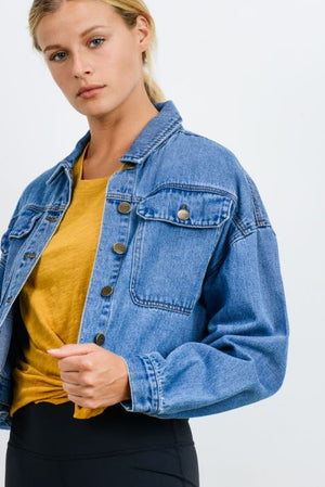 Back and Front Buttoned Crop Denim Jacket