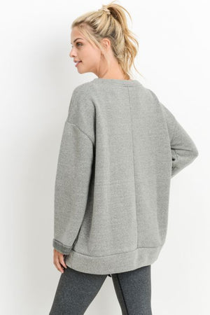 Loose Sleeves Ribbon Accent Fleece Sweatshirt