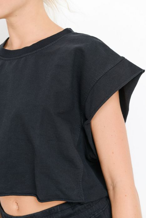 Boxy Cotton Terry Crop Top