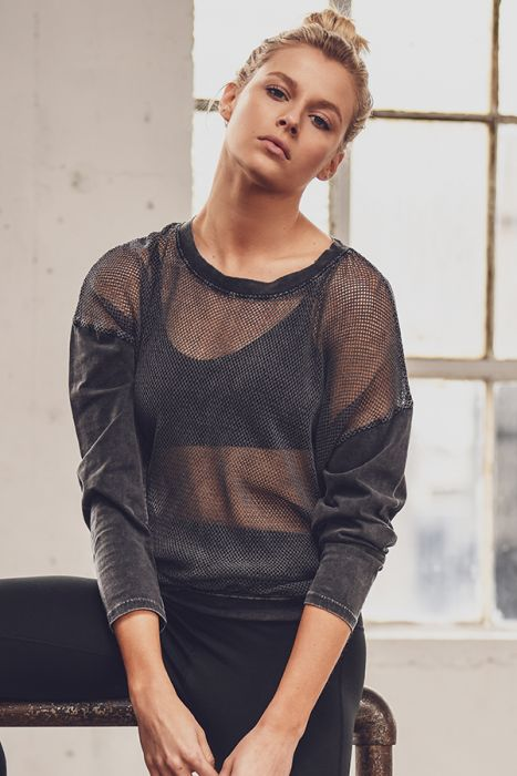 Long Sleeve Hybrid Mesh Top
