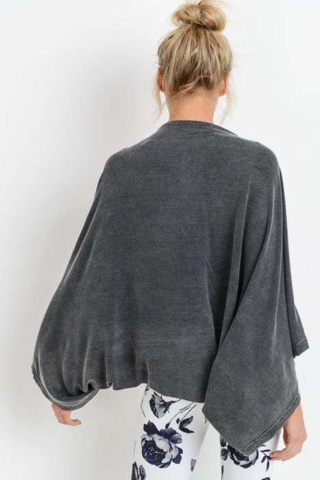 Open-Front Cape Sleeve Mineral Wash Top
