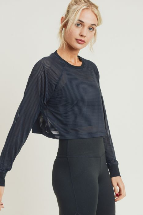 Striped Mesh Raglan Cropped Shirt with Long Sleeves (Black)