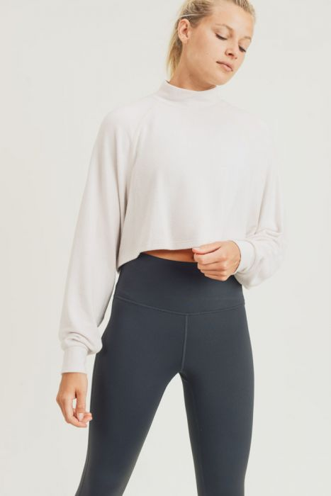 Cropped Boxy Long Sleeve Turtleneck