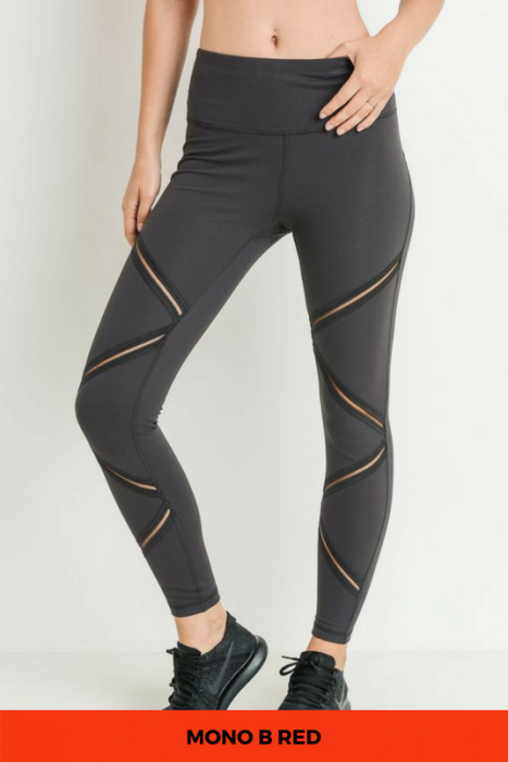 High Waist Zig-Zag Mesh Full Leggings