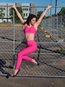 Ribbed Seamless Highwaist Leggings-Fuschia