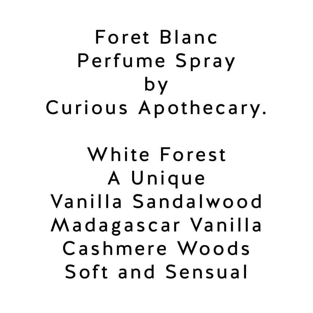Foret Blanc perfume. Best Vanilla Sandalwood fragrance by Curious Apothecary - theme-fragrance