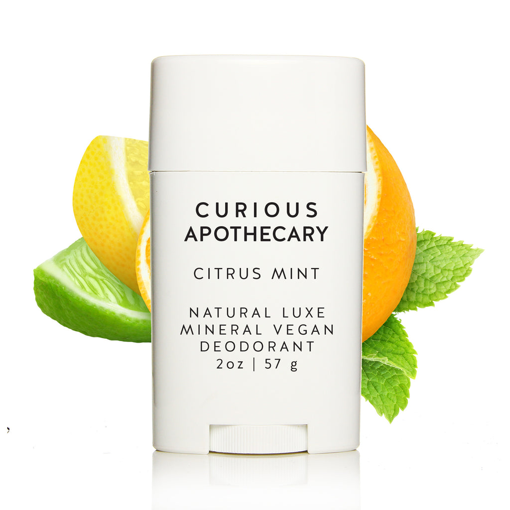 Natural Luxe Mineral Vegan Deodorant.  Baking soda free. Curious Apothecary