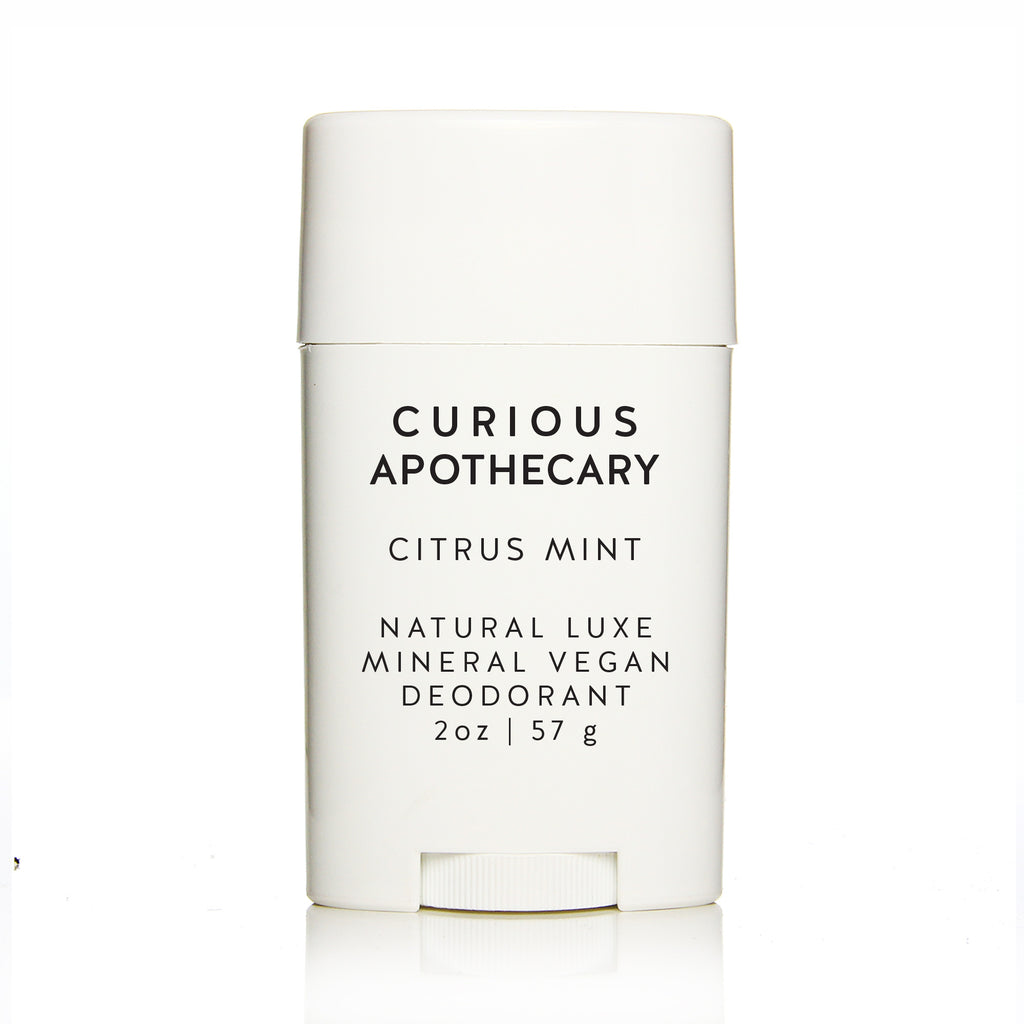 Natural Luxe Mineral Vegan Deodorant. Citrus Mint. Baking soda free. Curious Apothecary