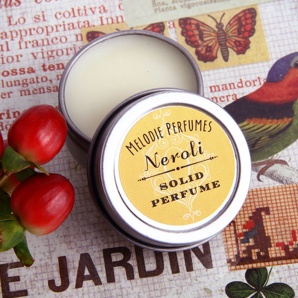 Neroli solid perfume by MelodiePerfumes. Vegan. Essential Oil