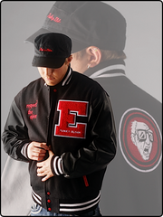 varsity jacket, leather varsity jacket, wool varsity jacket, wool and leather varsity jacket, funky elder varsity jacket, letterman jacket, funkyelder letterman jacket