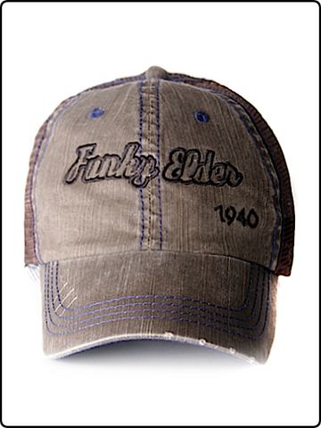 trucker hat, funky elder trucker hat, frayed bill trucker hat, brown hat, velcro strap hat, embroidered trucker hat