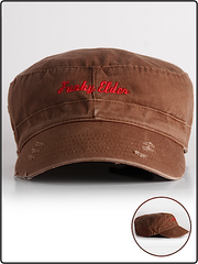 funky elder hat, funky elder military hat,military hat, emproidered military hat, funky elder army hat, army hat, brown army hat
