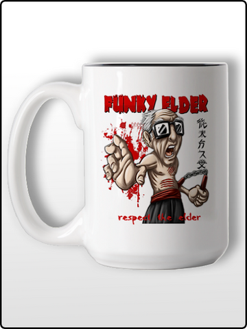 funky elder coffee mug, ceramic coffee mug, two tone coffee mug, hot, funny coffee mug