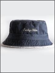 funky elder bucket hat, bucket hat, frayed brim bucket hat, cotton twill bucket hat, blue bucket hat, embroidered bucket hat