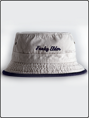 funky elder bucket hat, bucket hat, frayed brim bucket hat, cotton twill bucket hat, clay and navy bucket hat, embroidered bucket hat