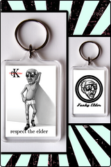 key chain, funky elder key chain, elder klein key chain, respect the elder key chain