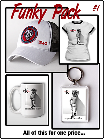funky pack, t shirt, coffee mug, key chain, ladies t shirt