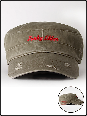 funky elder hat, funky elder military hat,military hat, emproidered military hat, funky elder army hat, army hat, green army hat