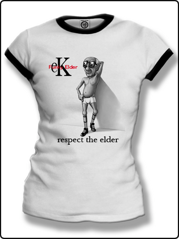 ringer t shirt, ladies ringer t shirt, ladies funky elder t shirt, white and black ringer t shirt, classic ringer t shirt,