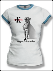 ringer t shirt, ladies ringer t shirt, ladies funky elder t shirt, white and blue ringer t shirt, classic ringer t shirt,