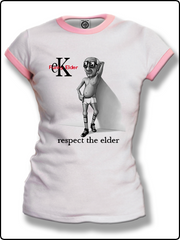 ringer t shirt, ladies elder klein ringer t shirt, ladies funky elder t shirt, white and pink ringer t shirt, classic ringer t shirt,