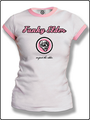 ringer t shirt, ladies ringer t shirt, ladies funky elder t shirt, white and pink ringer t shirt, classic ringer t shirt,