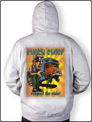 funky elder hoody, gray hoody, winnebago hoody, r.v. hoody, zip up hoody, funky winnebago hoody, embroidered hoody
