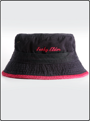 funky elder bucket hat, bucket hat, frayed brim bucket hat, cotton twill bucket hat, black and red bucket hat, embroidered bucket hat
