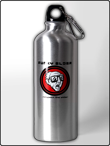 water bottle, funky elder water bottle, 25 oz. water bottle, silver water bottle, bpa free water bottle, designer water bottle, cool water bottle, funny water bottle, cold