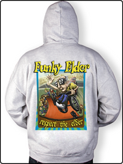 funky elder hoody, gray hoody, skateboard hoody, half pipe hoody, zip up hoody, funky skatechair hoody, embroidered hoody