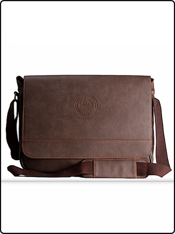 messenger bag, funky elder messenger bag, leather messenger bag, cool leather messenger, brown leather messenger
