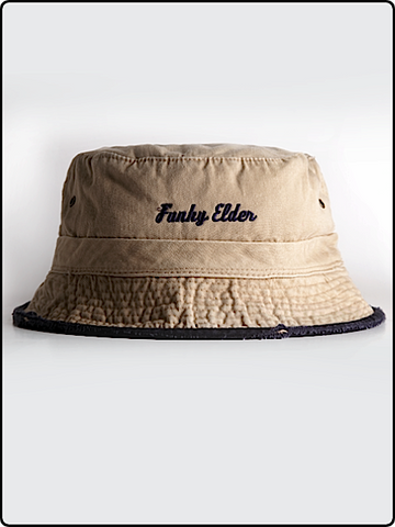 funky elder bucket hat, bucket hat, frayed brim bucket hat, cotton twill bucket hat, tan and navy bucket hat, embroidered bucket hat