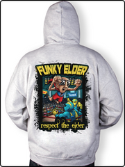 funky elder hoody, gray hoody, top rope hoody, wrestling hoody, zip up hoody, respect the elder hoody, embroidered hoody