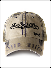 trucker hat, funky elder trucker hat, frayed bill trucker hat, tan hat, velcro strap hat, embroidered trucker hat