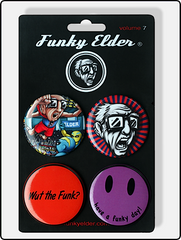 button pins, funky elder button pin, four pack button pins, funny button pins, cool button pins