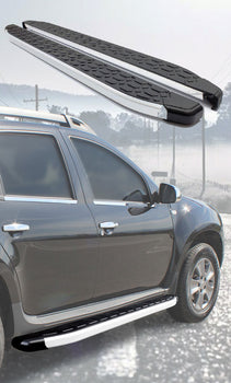 Running boards make it easier to get in&out your vehicle, and besides, your vehicle appearance upgrade. Nerf bars were designed to protect for S.U.V or trucks from lower-body damage.  You can easily step up and into taller vehicles.