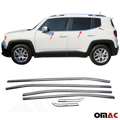 Omac usa - Chrome Window Sill Overlay Cover Trim SET 6 Pcs. Steel for JEEP RENEGADE 2014- - Omac Shop Usa - Auto Accessories