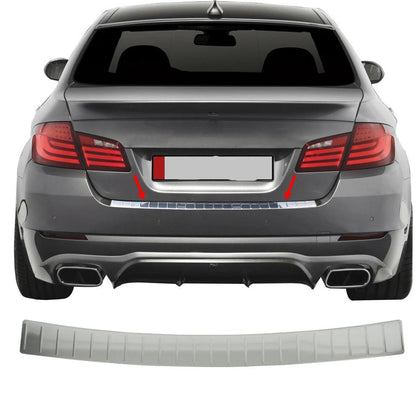 Fits BMW 5 Series F10 2010-2016 Chrome Rear Bumper Guard Trunk Sill Protector Omac Shop Usa - Auto Accessories