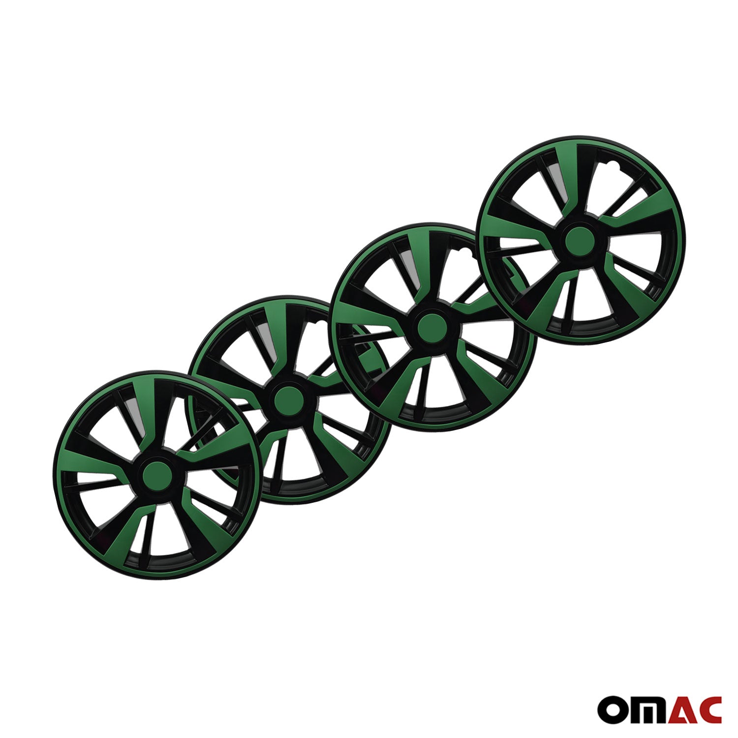 "14"" Hubcaps Wheel Rim Cover Black with Green Insert 4pcs Set For Ford"